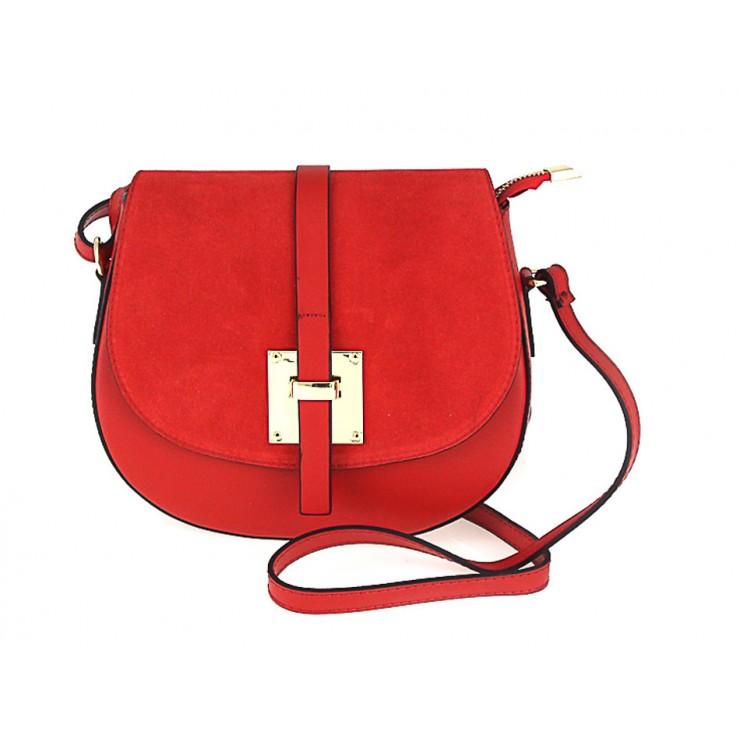 Genuine Leather Shoulder Bag 942 red