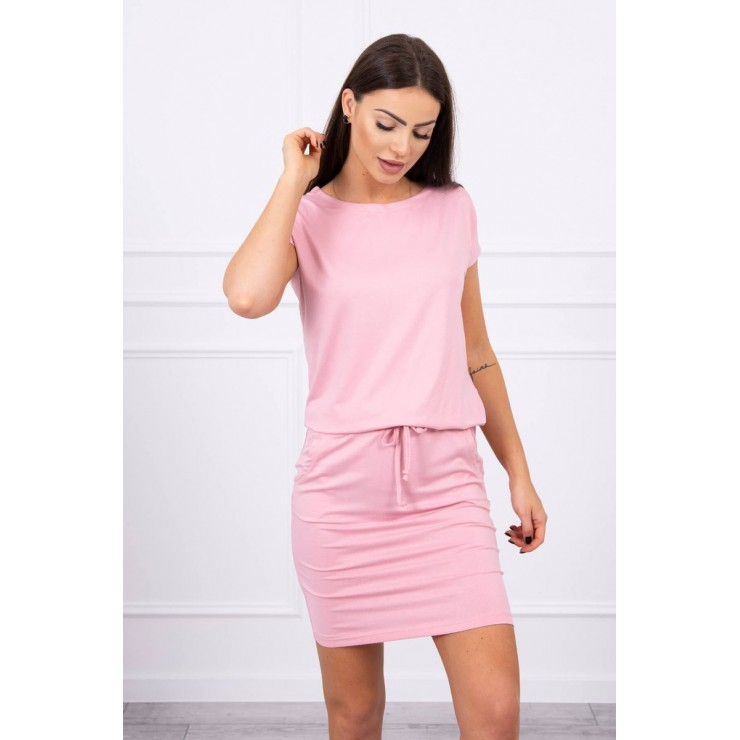 Viscose dress tied at the waist with short sleeves MI9074 dark powder pink