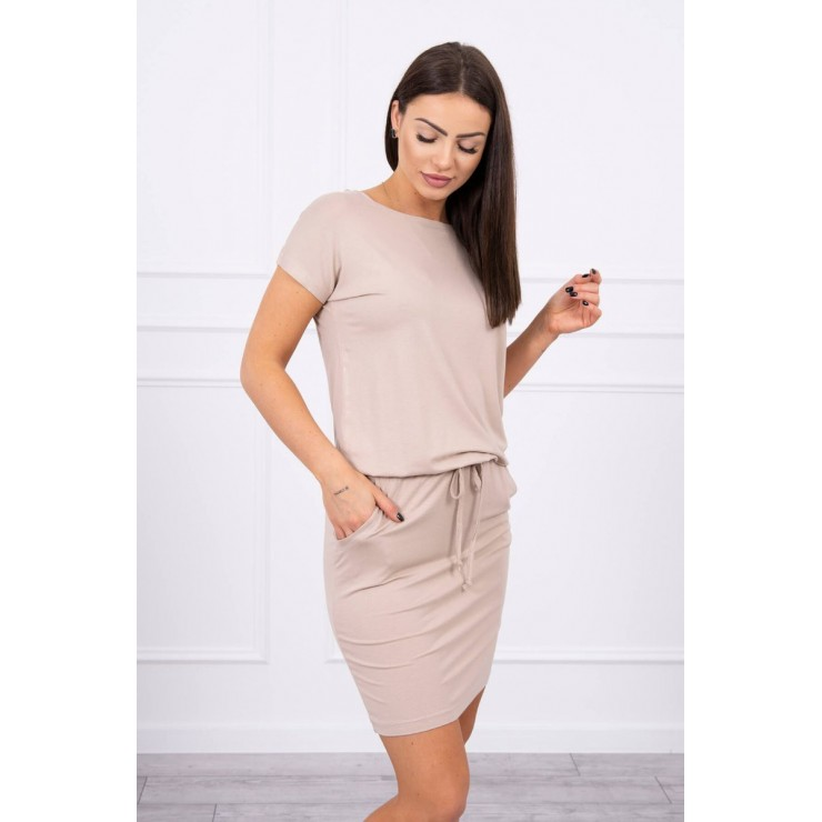 Viscose dress tied at the waist with short sleeves MI9074 beige