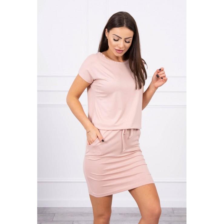 Viscose dress tied at the waist with short sleeves MI9074 powder pink