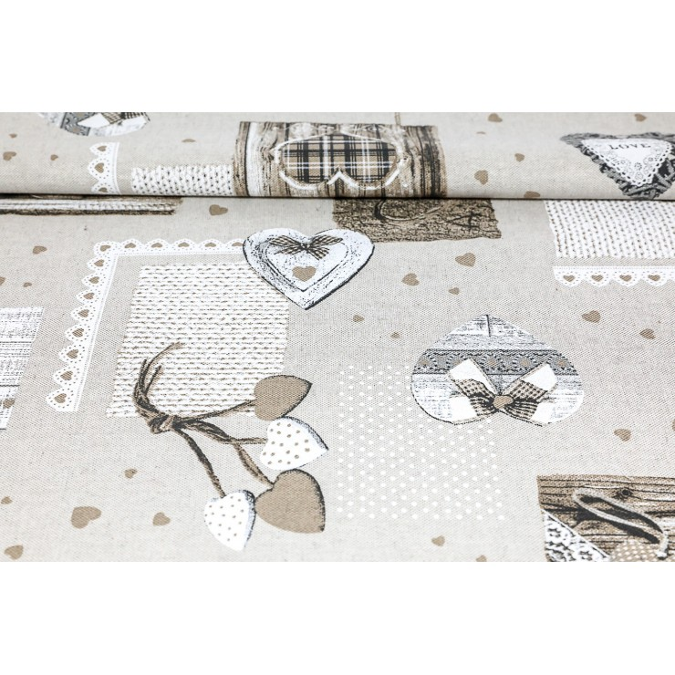 Fabric with taupe hearts