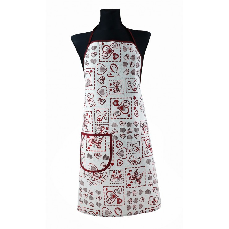 Kitchen apron 914 butterflies and red hearts Made in Italy