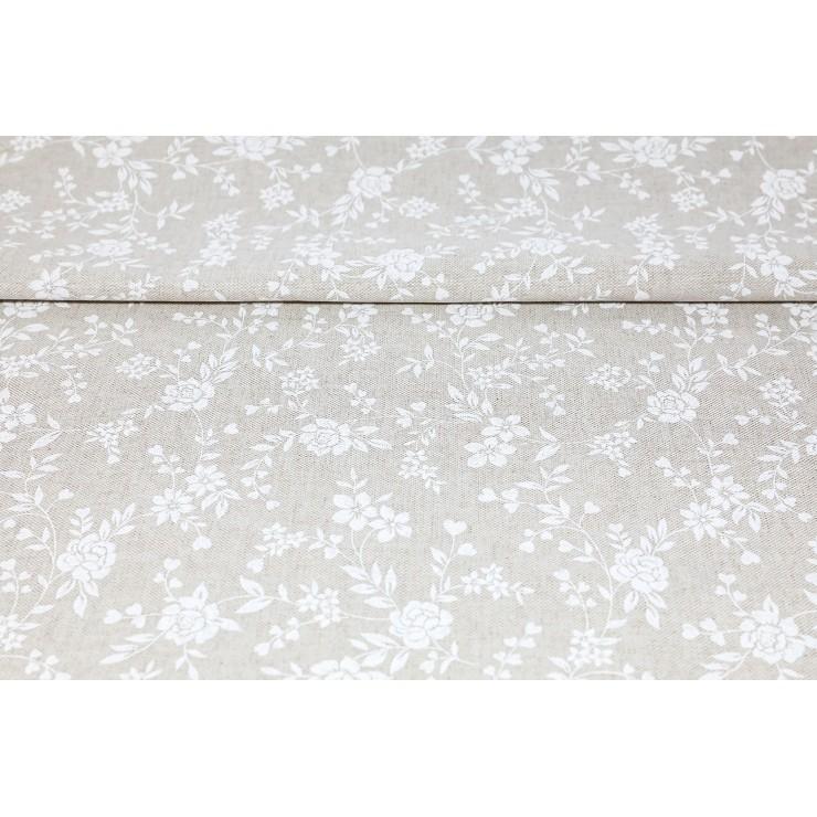 Dekoračná látka biele kvety, šírka 140 cm