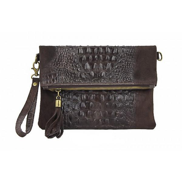 Kožená kabelka krokodíl 630 tmavohnedá