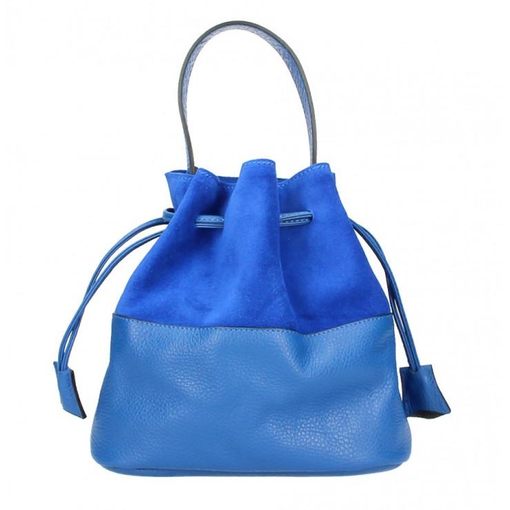 Kožená kabelka v tvare vačku 645 azurovo modrá Made in Italy