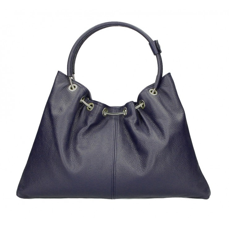 Genuine Leather Handbag 1458 dark blue MADE IN ITALY
