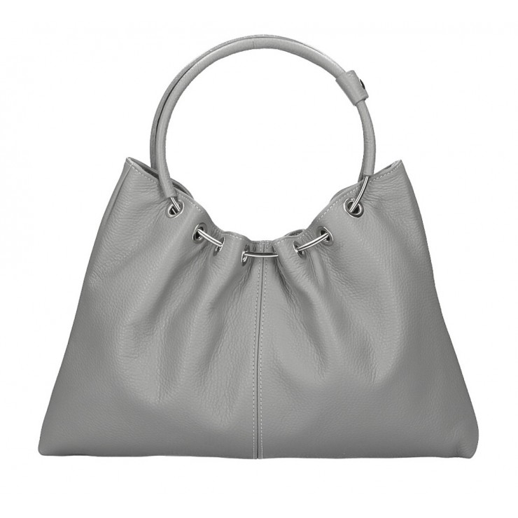 Genuine Leather Handbag 1458 gray MADE IN ITALY