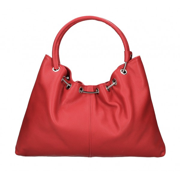 Kožená kabelka do ruky 1458 červená MADE IN ITALY Červená
