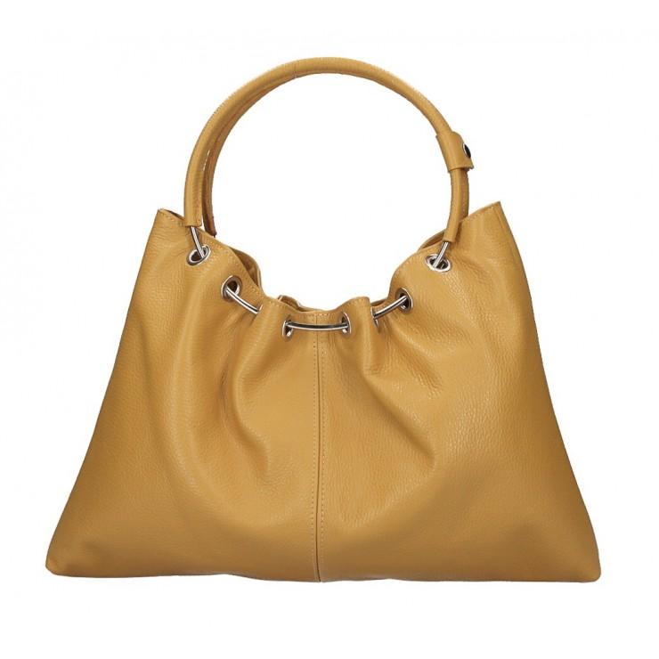Genuine Leather Handbag 1458 mustard MADE IN ITALY