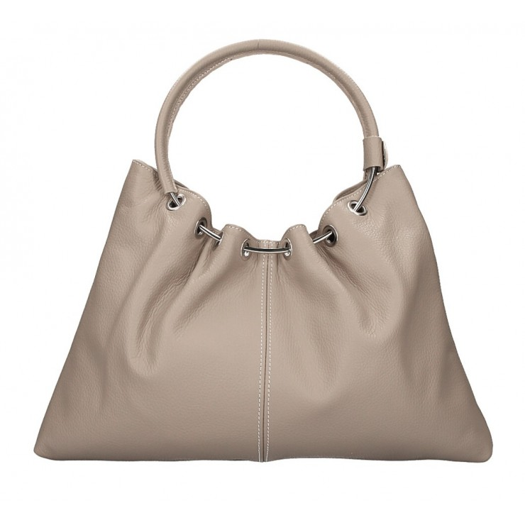 Genuine Leather Handbag 1458 taupe MADE IN ITALY