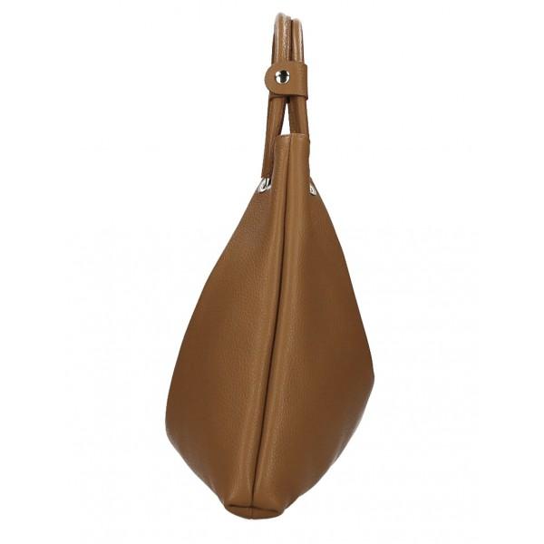 Kožená kabelka do ruky 1458 šedohnedá MADE IN ITALY Šedohnedá