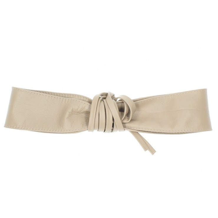 Genuine Leather sash belt 839 taupe