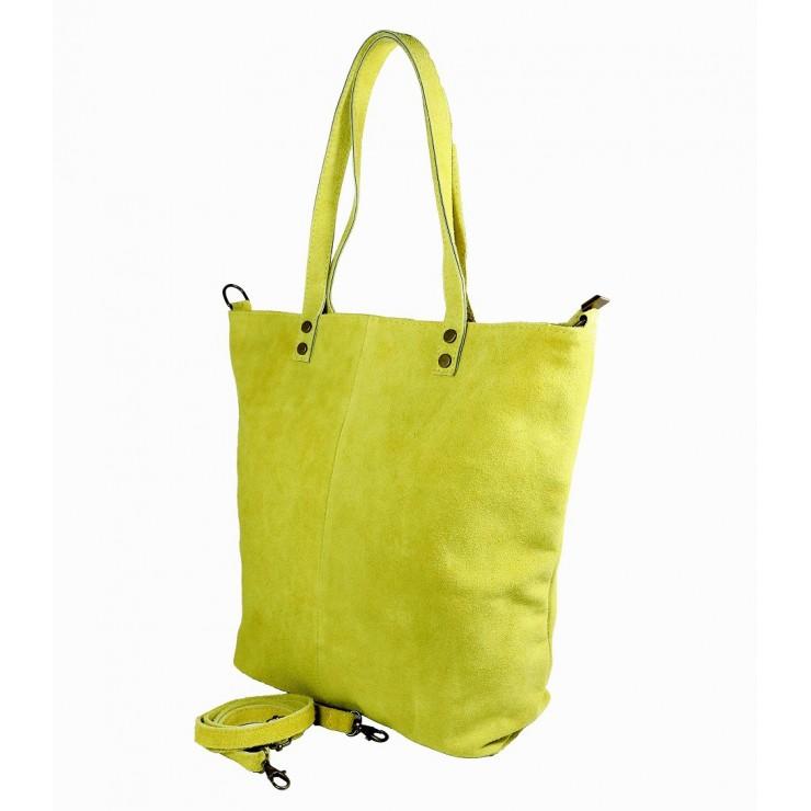 Okrová kožená kabelka na rameno v úpravě semiš