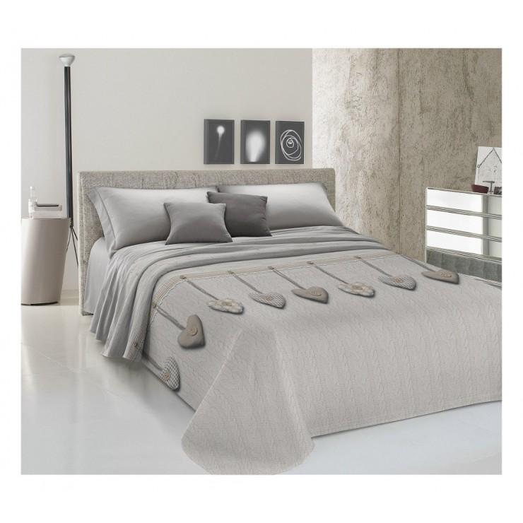 Prikrývka na posteľ Piquet Visiace srdiečka béžové