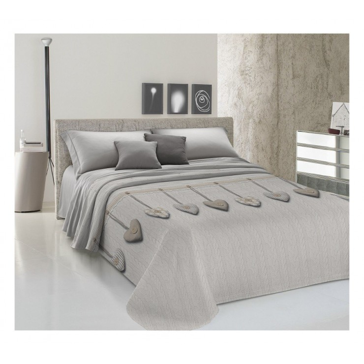Přikrývka na postel Piquet Visící srdíčka béžové