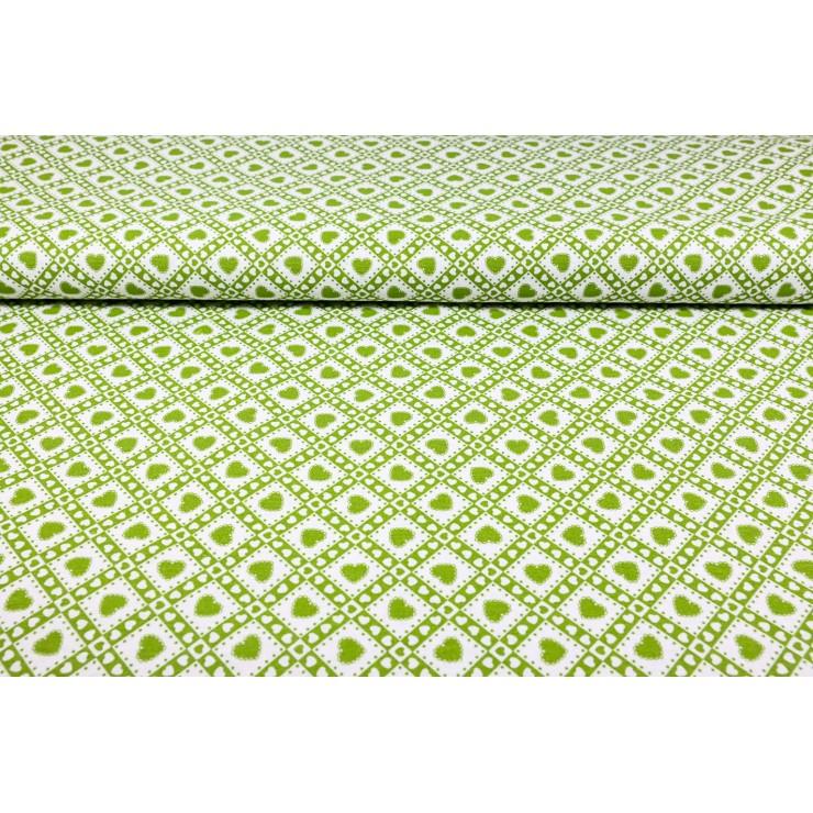 Dekorační látka Bavlna Zelené srdíčka š. 140 cm