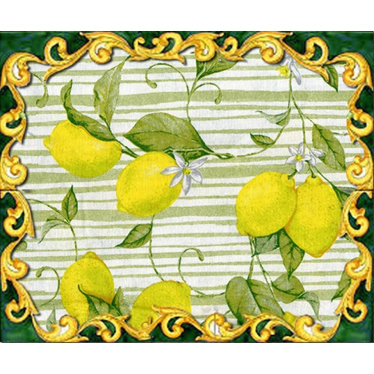 Fabric Cotton lemons on green