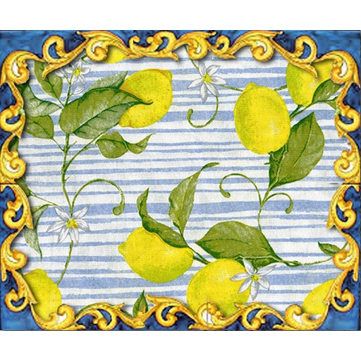 Fabric Cotton lemons on blue