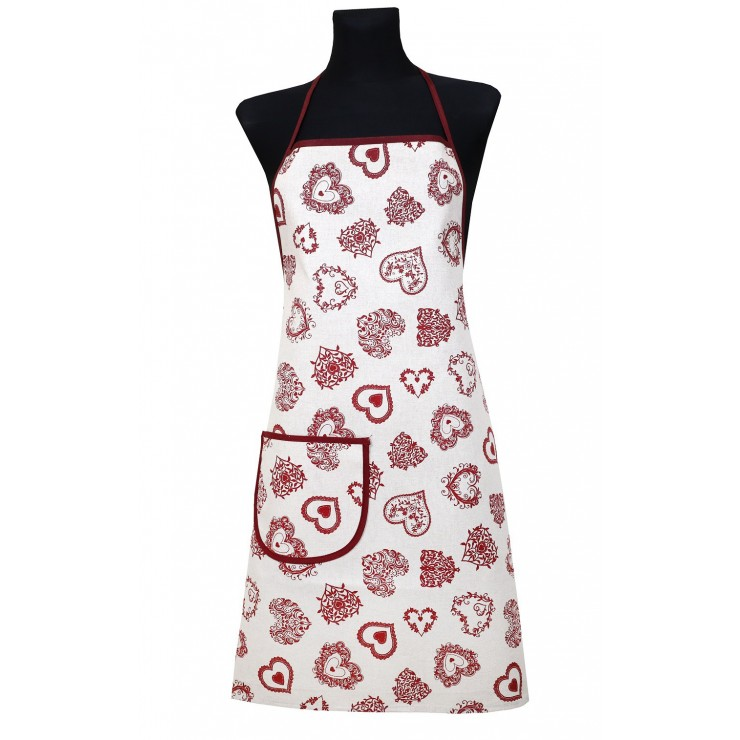 Kitchen apron 914 red hearts Made in Italy
