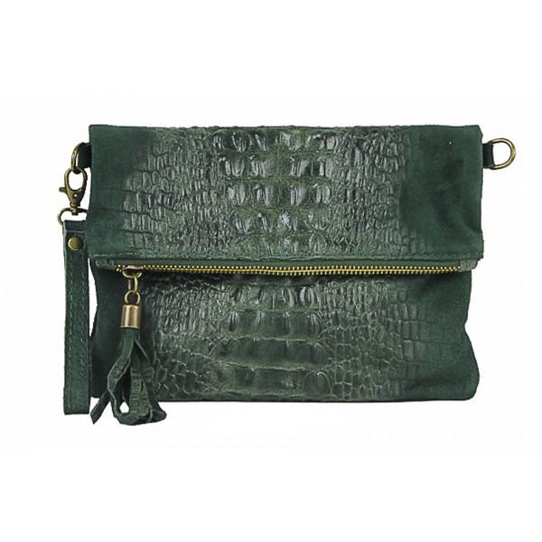 Kožená kabelka krokodíl 630 tmavozelená Zelená