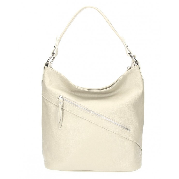 Leather Handbag 172 beige Made in Italy