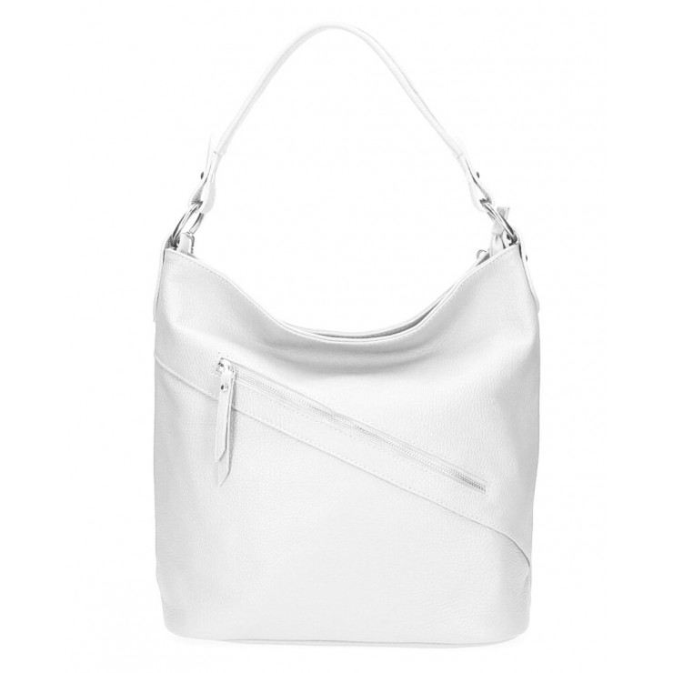 Leather Handbag 172 white Made in Italy