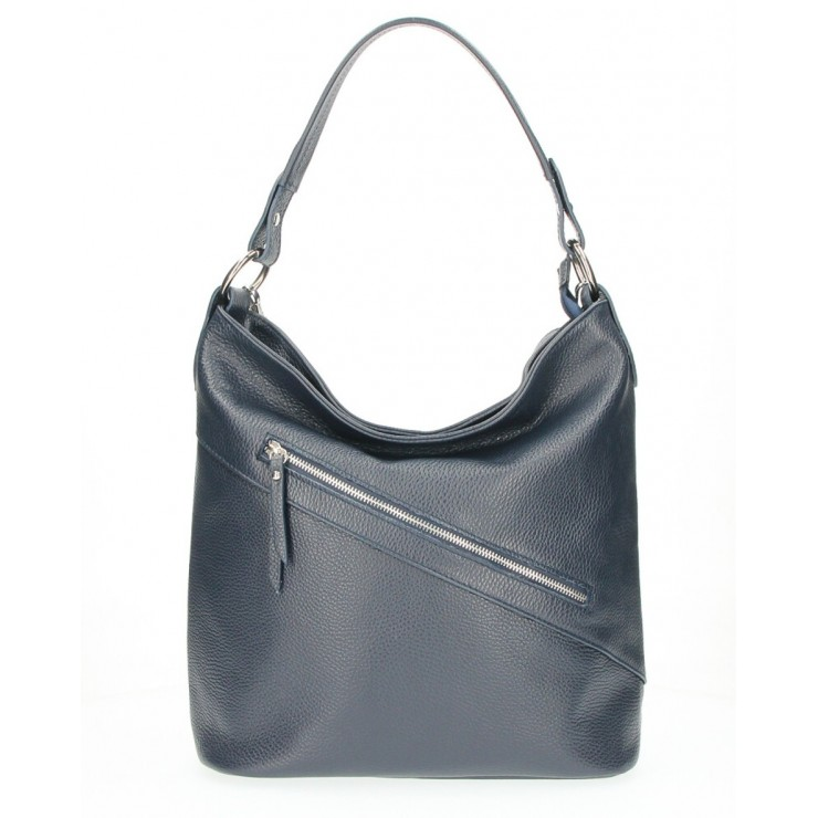 Leather Handbag 172 dark blue Made in Italy