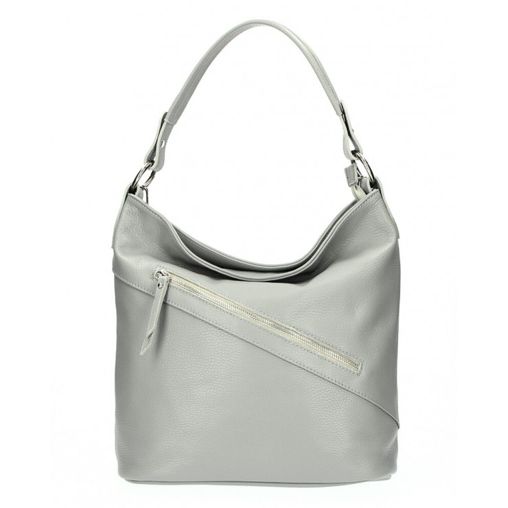 Leather Handbag 172 gray Made in Italy