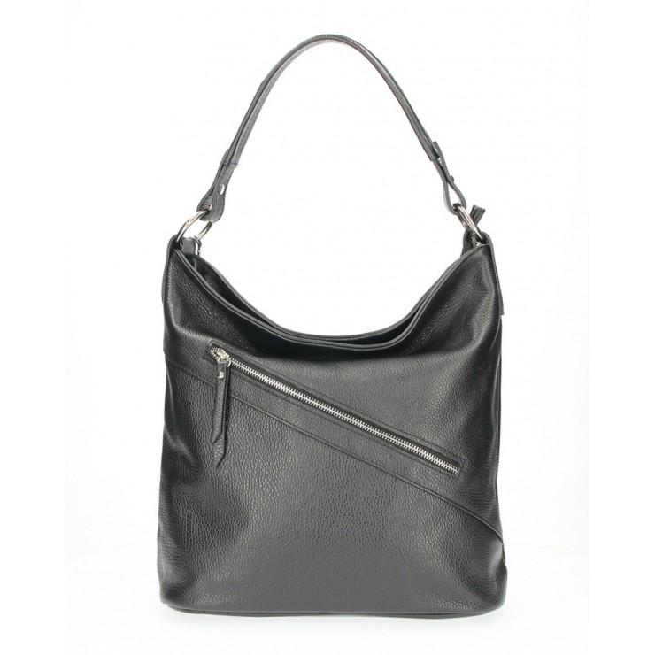 Leather Handbag 172 black Made in Italy