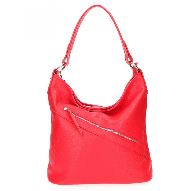Leather Handbag 172 red Made in Italy