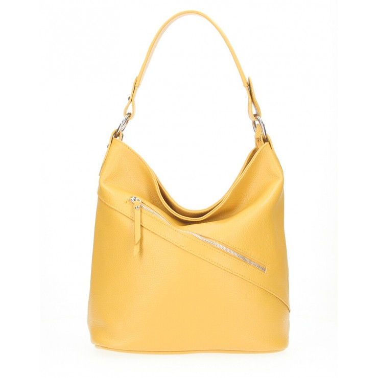 Leather Handbag 172 mustard Made in Italy
