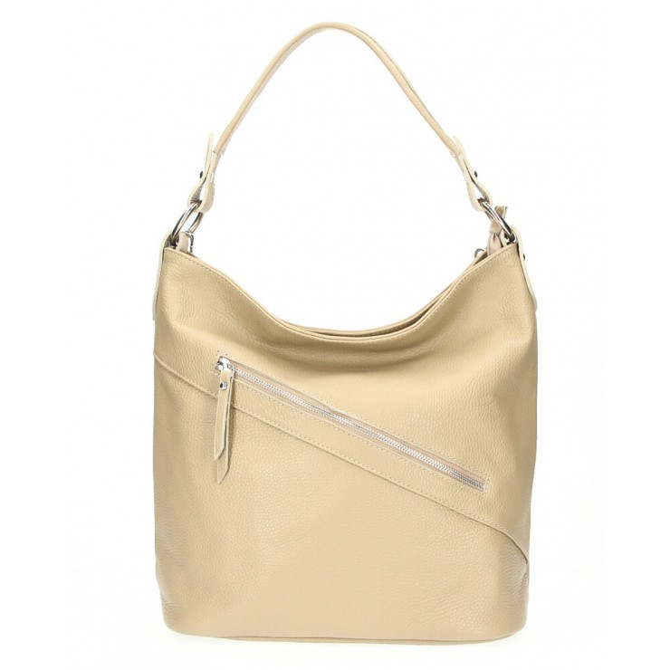 Leather Handbag 172 taupe Made in Italy