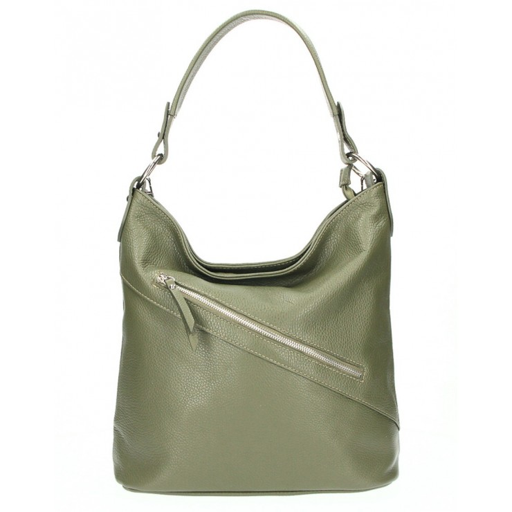 Leather Handbag 172 green olive Made in Italy
