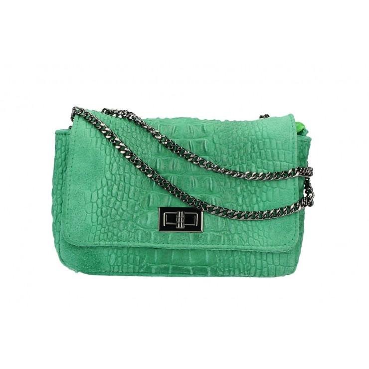Talianska kožená kabelka potlač krokodýl 439 zelená