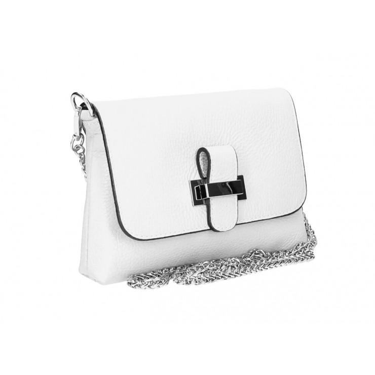 Kožená kabelka na rameno MI305 bílá Made in Italy