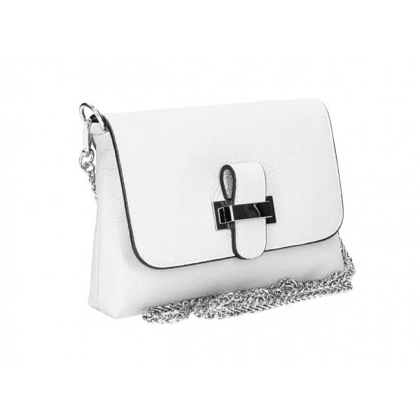 Kožená kabelka na rameno MI305 biela Made in Italy Biela