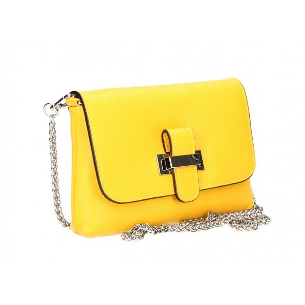 Kožená kabelka na rameno MI305 žltá Made in Italy Žltá