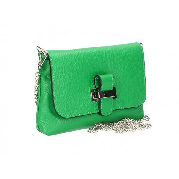 Kožená kabelka na rameno MI305 zelená Made in Italy Zelená