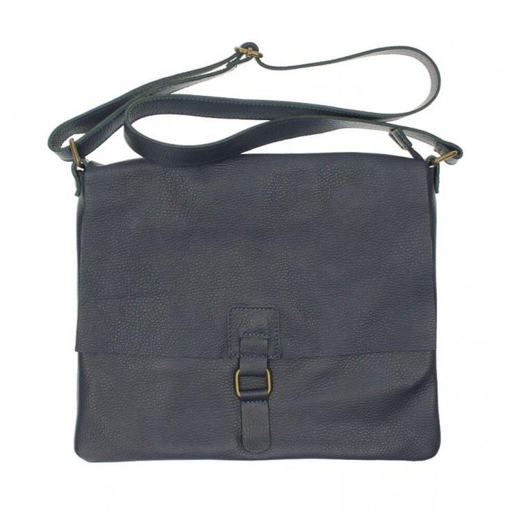 Kožená kabelka na rameno 171 tmavomodrá Made in Italy