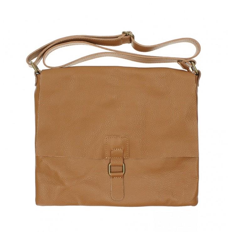 Kožená kabelka na rameno 171 koňaková Made in Italy