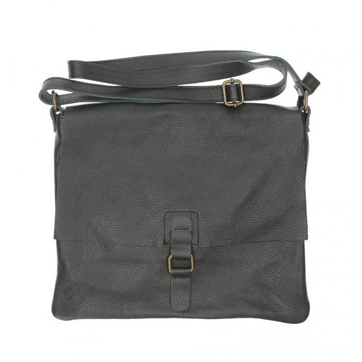 Kožená kabelka na rameno 171 čierna Made in Italy
