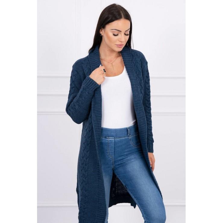Dámsky sveter s vrkočmi MI2019-1 jeans
