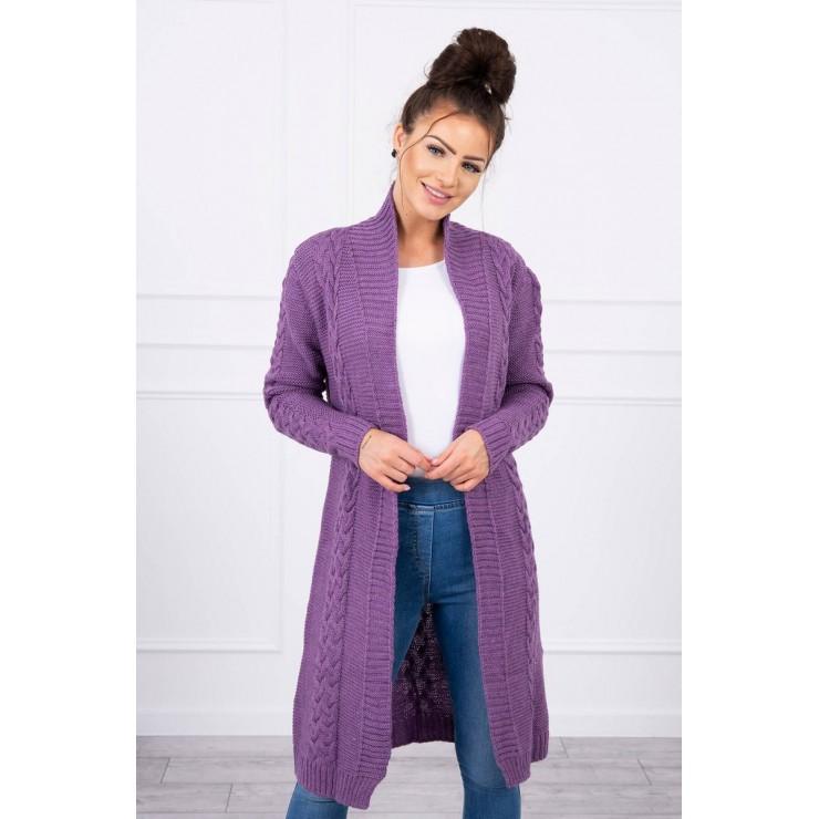 Ladies long sweater with braids MI2019-1 purple