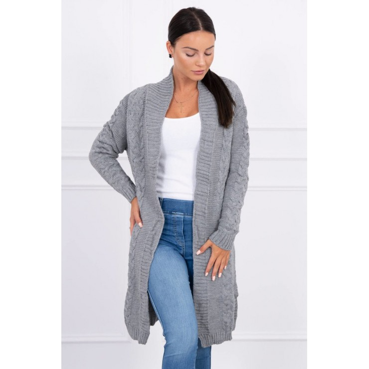 Ladies long sweater with braids MI2019-1 gray