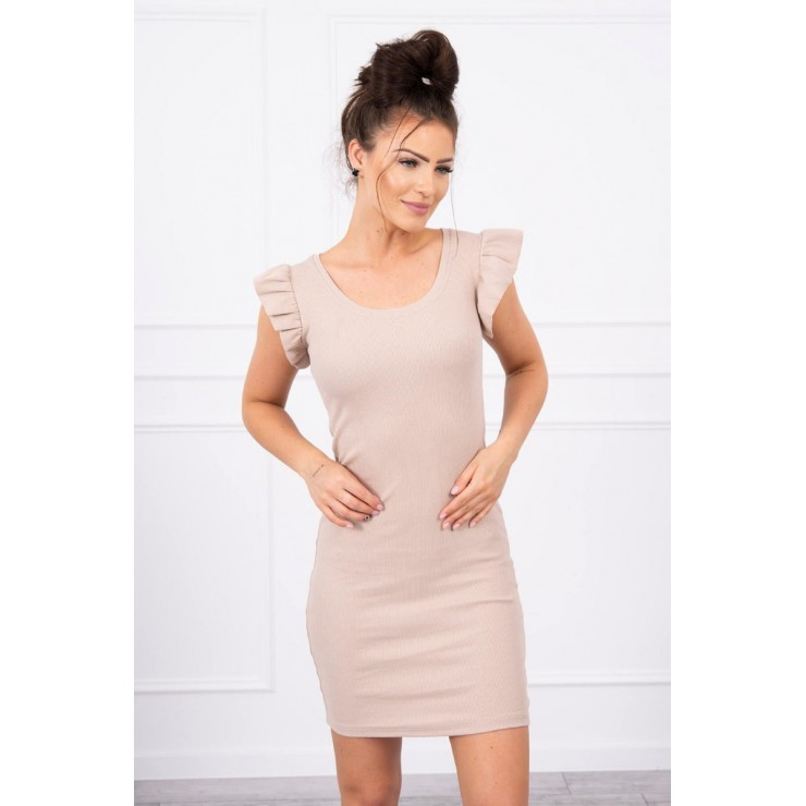 Ladies Dress with frills on the sleeve MI9098 beige