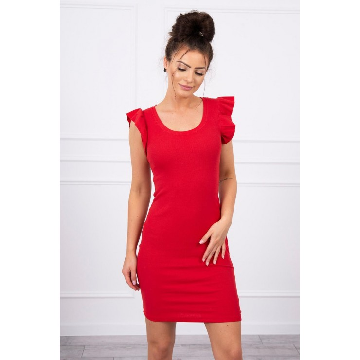 Ladies Dress with frills on the sleeve MI9098 red