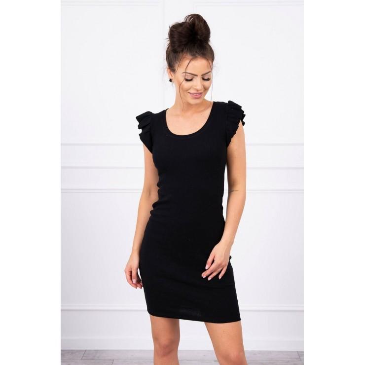 Ladies Dress with frills on the sleeve MI9098 black