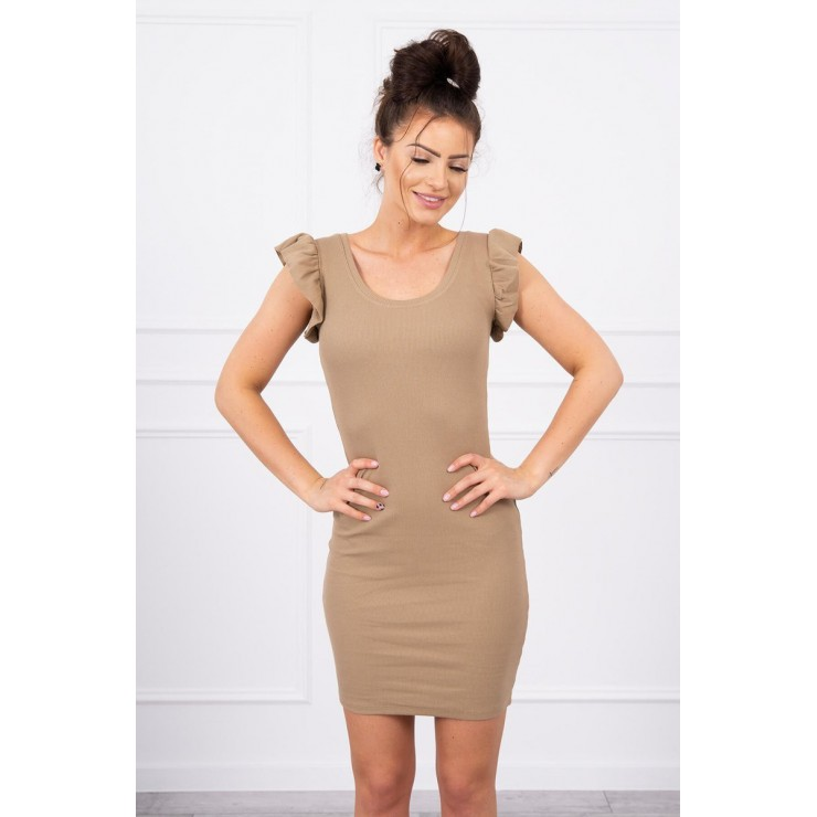Ladies Dress with frills on the sleeve MI9098 camel