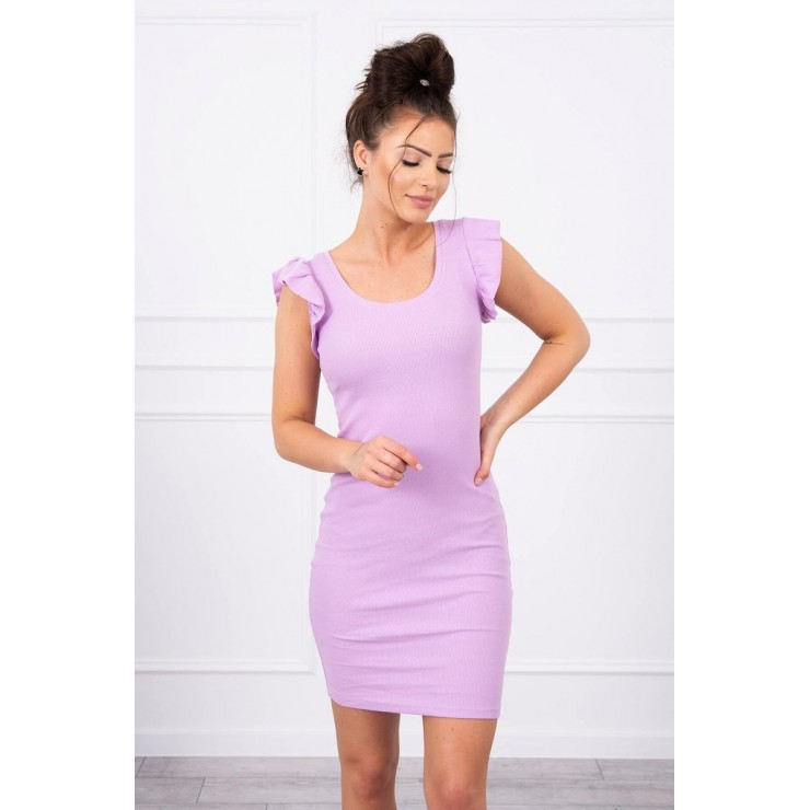 Ladies Dress with frills on the sleeve MI9098 purple
