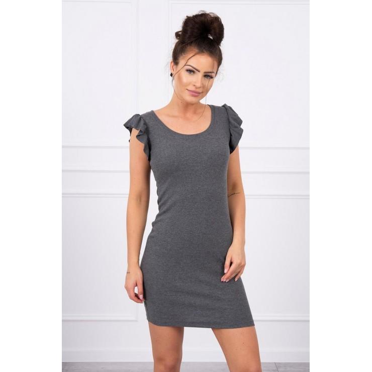 Ladies Dress with frills on the sleeve MI9098 graphite